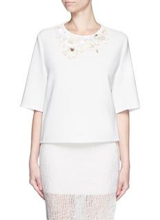 3.1 PHILLIP LIMFloral lace embellished neckline crepe top