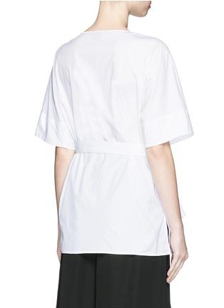 Back View - Click To Enlarge - 3.1 Phillip Lim - Smocked panel sash waist cotton poplin shirt
