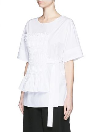 Front View - Click To Enlarge - 3.1 Phillip Lim - Smocked panel sash waist cotton poplin shirt