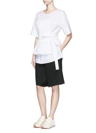 Figure View - Click To Enlarge - 3.1 Phillip Lim - Smocked panel sash waist cotton poplin shirt