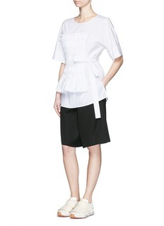 3.1 PHILLIP LIMSmocked panel sash waist cotton poplin shirt