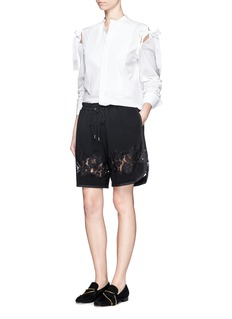 3.1 PHILLIP LIM Floral lace trim French terry shorts