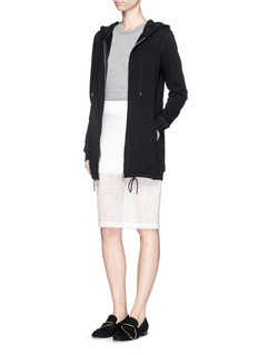 3.1 PHILLIP LIM Floral lace trim French terry hoodie