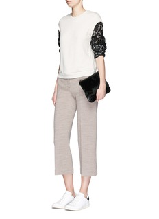 3.1 PHILLIP LIM Floral lace sleeve French terry sweatshirt