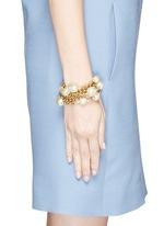 Multi strand baroque glass pearl chain bracelet