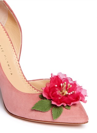 Detail View - Click To Enlarge - Charlotte Olympia - 'Vamp In Bloom' flower corsage suede d'Orsay pumps
