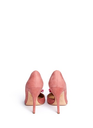 Back View - Click To Enlarge - Charlotte Olympia - 'Vamp In Bloom' flower corsage suede d'Orsay pumps