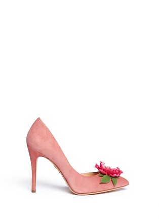 Main View - Click To Enlarge - Charlotte Olympia - 'Vamp In Bloom' flower corsage suede d'Orsay pumps