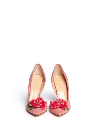 Figure View - Click To Enlarge - Charlotte Olympia - 'Vamp In Bloom' flower corsage suede d'Orsay pumps