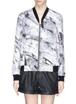 'Terrene' marble print silk bomber jacket