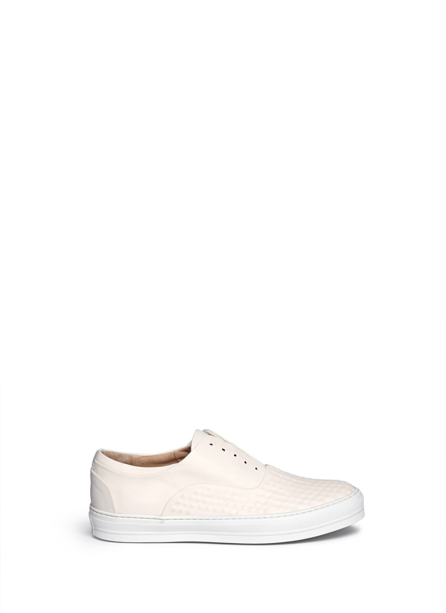 Textured leather slip on sneakers