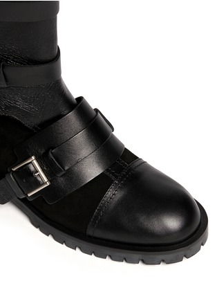 Detail View - Click To Enlarge - Alexander McQueen - Leather and suede biker booties