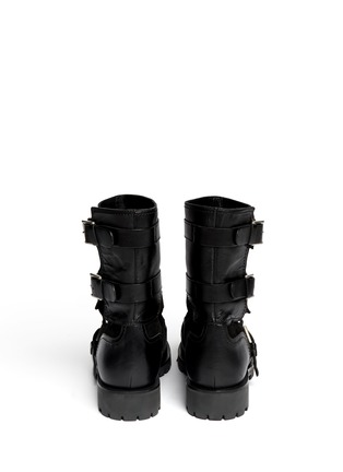 Back View - Click To Enlarge - Alexander McQueen - Leather and suede biker booties