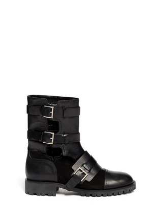 Main View - Click To Enlarge - Alexander McQueen - Leather and suede biker booties