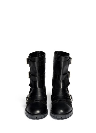 Figure View - Click To Enlarge - Alexander McQueen - Leather and suede biker booties