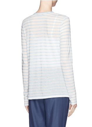 Back View - Click To Enlarge - Vince - Striped long tissue jersey tee
