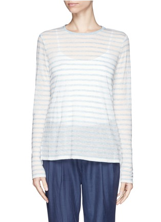 Main View - Click To Enlarge - Vince - Striped long tissue jersey tee
