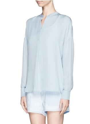 Front View - Click To Enlarge - Vince - Collarless silk blouse