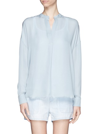 Main View - Click To Enlarge - Vince - Collarless silk blouse