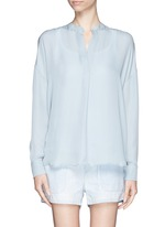 VINCE Collarless silk blouse