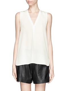VINCEV-neck trim silk blouse