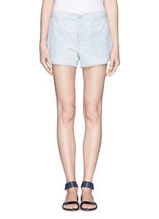 VINCESlanted pocket chambray shorts