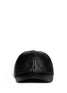 NEIL BARRETT Diamond quilted leather baseball cap