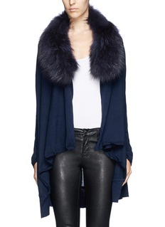 ALICE + OLIVIA 'Izzy' raccoon fur collar cascade wool-cashmere cardigan