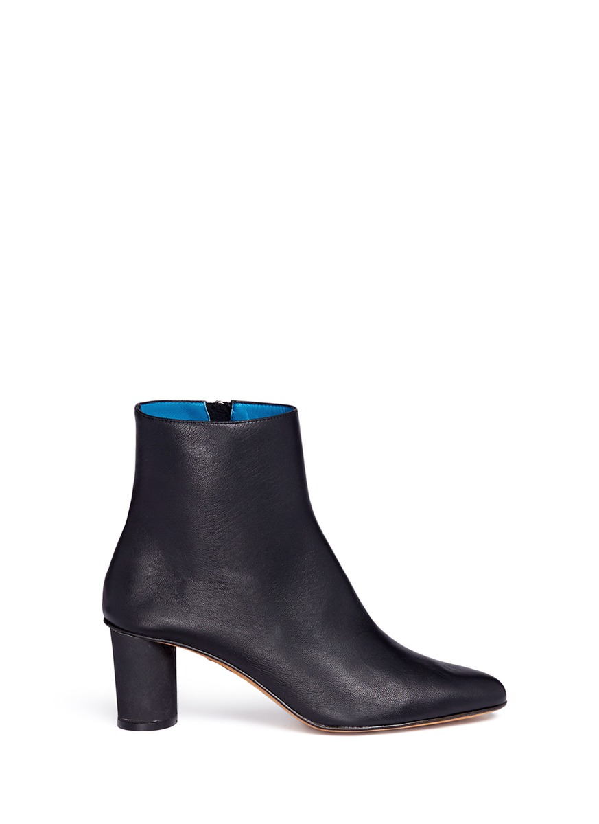 Monika concrete coated heel leather boots by GRAY MATTERS SHOES
