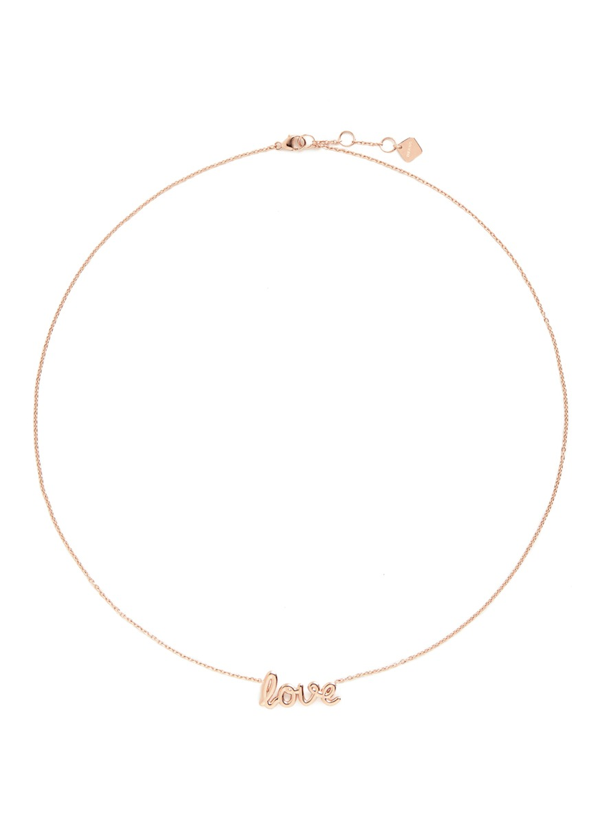 Love 18k pink gold plated necklace by Thea Jewelry