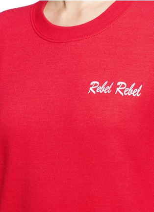 Detail View - Click To Enlarge - DOUBLE TROUBLE - 'Rebel Rebel' slogan embroidered fleece sweatshirt