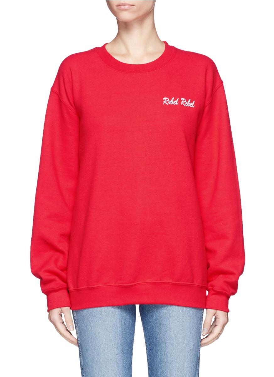 Rebel Rebel slogan embroidered fleece sweatshirt by Double Trouble