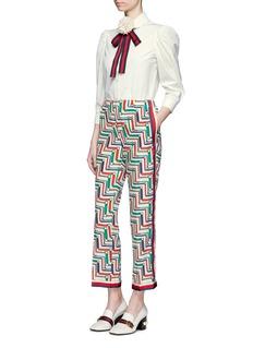 Gucci Floral brooch web bow poplin shirt
