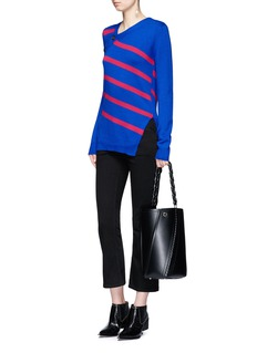 Proenza Schouler Asymmetric button stripe cashmere-cotton sweater