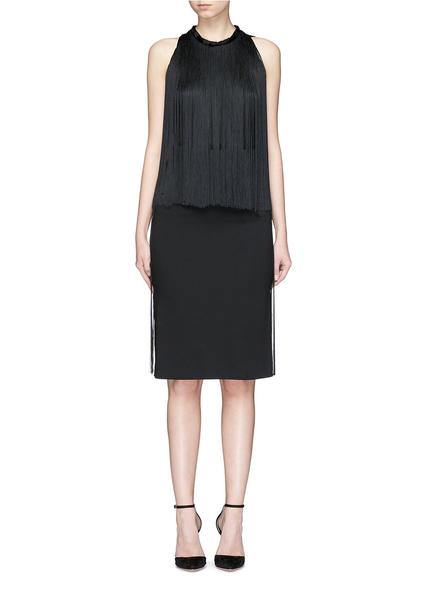 Maurice fringe overlay stretch cady dress by Stella McCartney