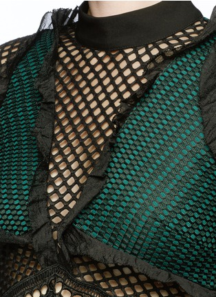 Detail View - Click To Enlarge - self-portrait - 'Forest' ruffle fishnet effect mesh top