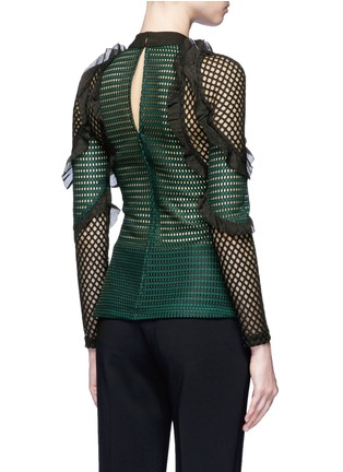 Back View - Click To Enlarge - self-portrait - 'Forest' ruffle fishnet effect mesh top