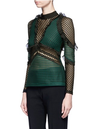 Front View - Click To Enlarge - self-portrait - 'Forest' ruffle fishnet effect mesh top