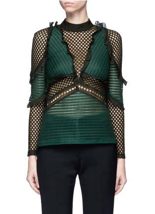 Main View - Click To Enlarge - self-portrait - 'Forest' ruffle fishnet effect mesh top