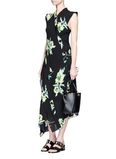 Proenza SchoulerFloral print silk crepe asymmetric dress