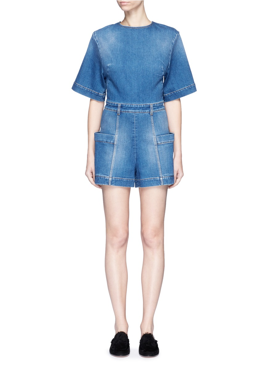 Cutout back cotton denim rompers by Stella McCartney