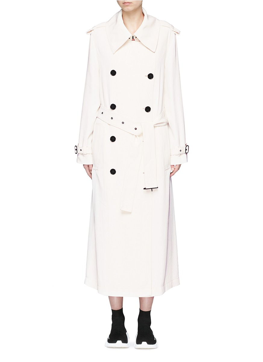 Lucie double breasted twill long trench coat by Acne Studios