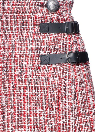 Detail View - Click To Enlarge - Alexander McQueen - Buckle pleated tweed wrap mini skirt