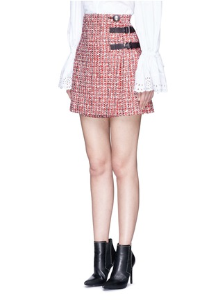 Front View - Click To Enlarge - Alexander McQueen - Buckle pleated tweed wrap mini skirt