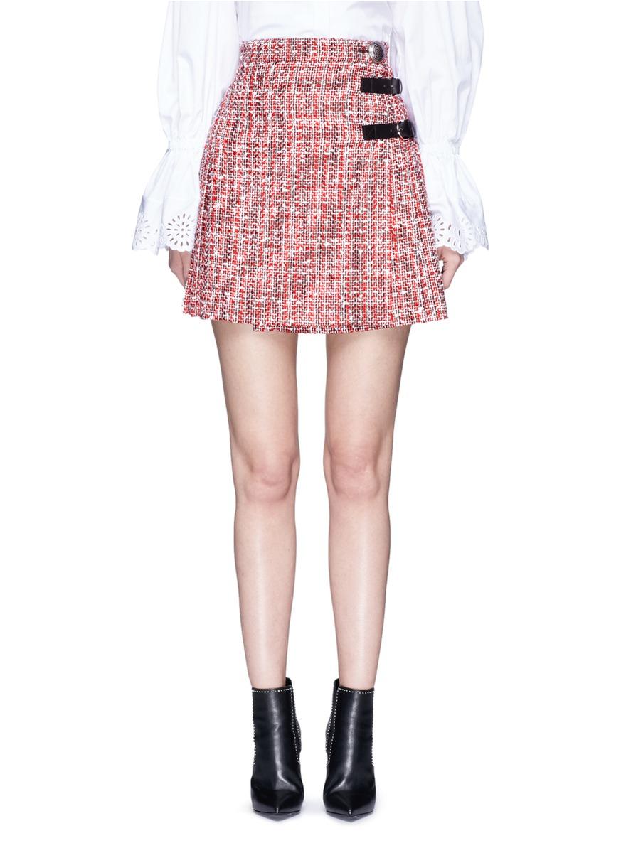 Buckle pleated tweed wrap mini skirt by Alexander McQueen