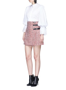 Alexander McQueen Buckle pleated tweed wrap mini skirt