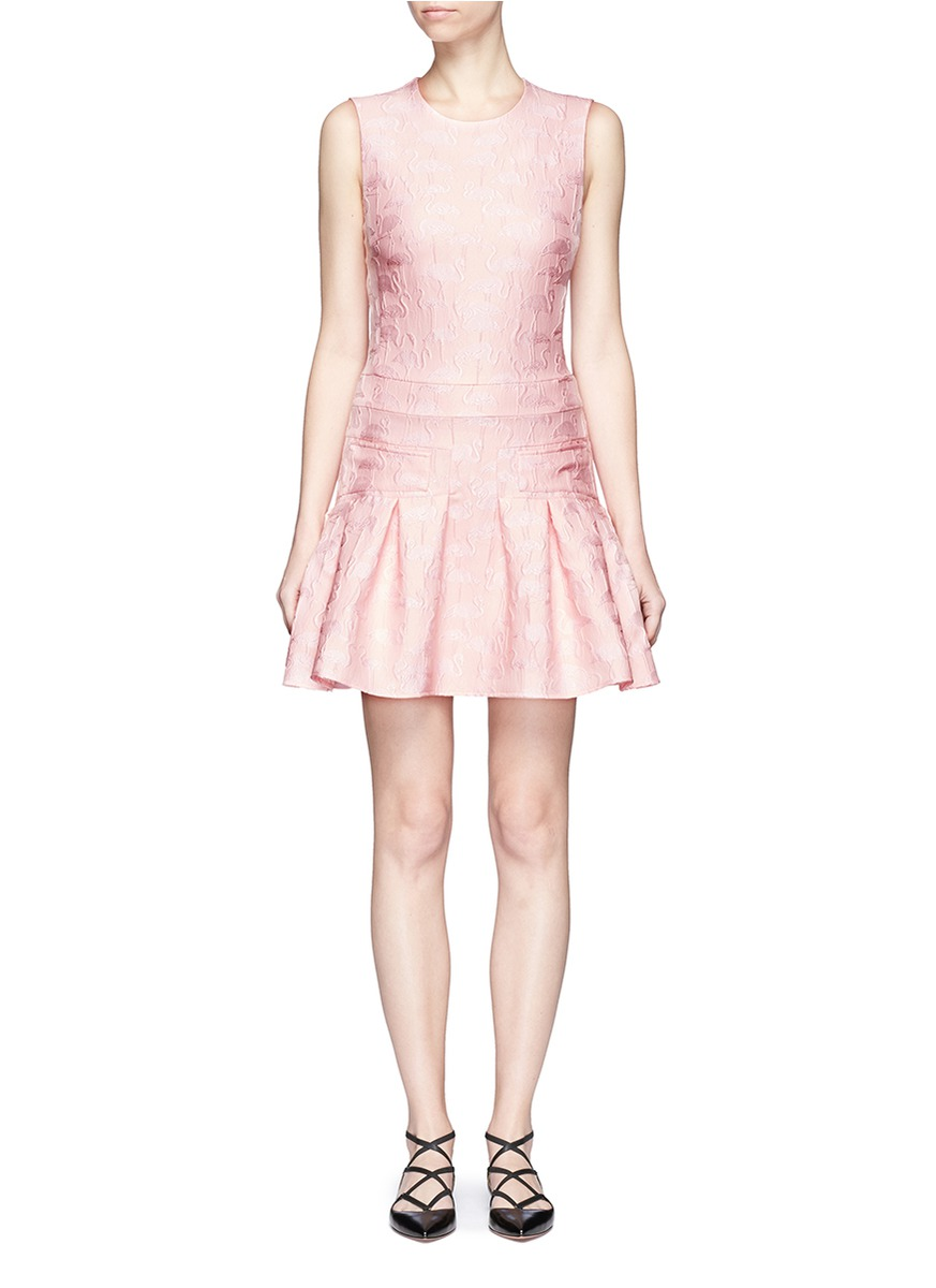 Flamingo jacquard peplum dress by Giamba