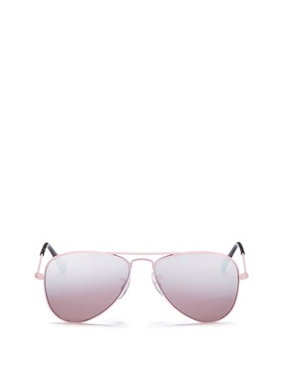 Main View - Click To Enlarge - Ray-Ban - 'Aviator Junior' metal mirror sunglasses