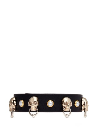Main View - Click To Enlarge - Alexander McQueen - Skull faux pearl stud leather bracelet