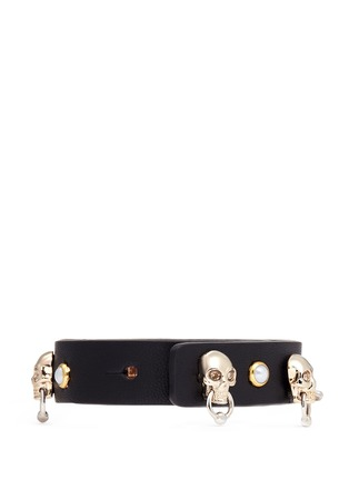 Figure View - Click To Enlarge - Alexander McQueen - Skull faux pearl stud leather bracelet